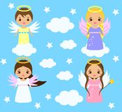 Cute angels. Kawaii style. Boys and girls with wings on clouds among stars stock illustration