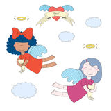 Cute angels with kittens illustration. Hand drawn vector illustration of two cute little angel girls, holding kittens, flying, with winged heart and text Angel Royalty Free Stock Images
