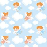 Cute angels pattern. Seamless pattern with the image of a pretty little angel. Vector background Stock Image