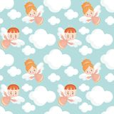 Cute angels seamless pattern. Seamless pattern with the image of a pretty little angel. Vector background Stock Photography