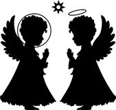 Cute angels silhouettes set Stock Images