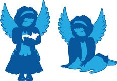 Cute angels silhouettes set Royalty Free Stock Images