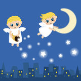 Cute angels with stars Royalty Free Stock Image