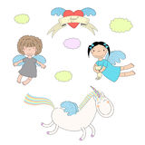 Cute angels and unicorn illustration Stock Photo