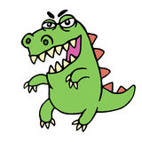 Cute angry cartoon dinosaur. Vector illustration. Royalty Free Stock Photos