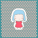 Cute Angry Gloomy Candy Blue Hair Cartoon Baby Girl. On doted background Stock Images