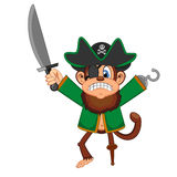 Cute Angry Monkey Pirate Cartoon Royalty Free Stock Images