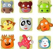Cute animal. 9 cartoon animals head of hippo, bear,cow,cat,pandas,dog,deer,fish,monkey Royalty Free Stock Image