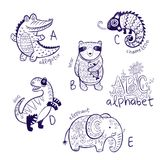Cute zoo alphabet drawing in a chalk style. Hand drawn contour illustration. Cute animal alphabet coloring page. Funny cartoon animals - alligator, bear royalty free stock image
