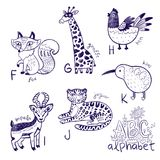 Cute zoo alphabet drawing in a chalk style. Hand drawn contour illustration. Cute animal alphabet coloring page. Funny cartoon animals - fox, giraffe, hen stock photography