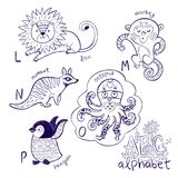 Cute zoo alphabet drawing in a chalk style. Hand drawn contour illustration. Cute animal alphabet coloring page. Funny cartoon animals - lion, monkey, numbat stock images