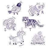Cute zoo alphabet drawing in a chalk style. Hand drawn contour illustration. Cute animal alphabet coloring page. Funny cartoon animals - quail, rhino, snake royalty free stock images