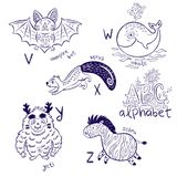 Cute zoo alphabet drawing in a chalk style. Hand drawn contour illustration. Cute animal alphabet coloring page. Funny cartoon animals - vampire bat, xerus royalty free stock photos