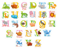 Cute animal alphabet. Funny cartoon character. A, B, C, D, E, F, G, H, I, J, K, L, M, N, O, P, Q, R, S, T, U, V, W, X, Y, Z letters royalty free illustration