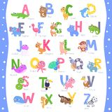 Cute animal alphabet A-Z stock illustration