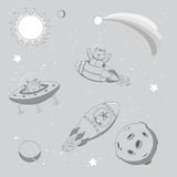 Cute animal astronauts in space. Hand drawn monochrome vector illustration of a cute funny alien in a flying saucer and unicorn and cat astronauts in rockets, on Stock Photos