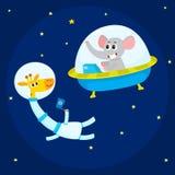 Cute animal astronauts, spacemen, elephant in spaceship, giraffe wearing spacesuit Stock Photos
