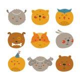 Cute Animal avatars Stock Photography