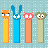 Cute animal bookmarks Stock Photos