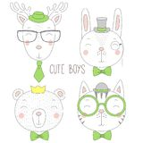 Cute animal boys portraits Royalty Free Stock Images