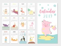 Cute animal calendar 2019 design,The year of the pig monthly cards templates,Set of 12 month,Monthly kids,cool,Vector illustration. Cute animal calendar 2019 Vector Illustration