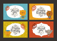 Cute animal cards Stock Images