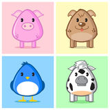 Cute Animal Caricature. Image of animal (pig, puppy, bird, cow) in caricature cartoon style with soft and cute color on nice colored background Royalty Free Stock Photo