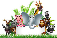 Cute animal cartoon with blank sign Stock Image