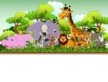Cute animal cartoon with blank sign and tropical forest background. Illustration of cute animal cartoon with blank sign and tropical forest background Royalty Free Stock Photos