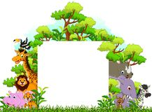 Cute animal cartoon with blank sign and tropical forest background
