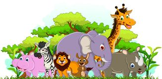 Cute animal cartoon with tropical forest background Royalty Free Stock Images