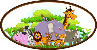 Cute animal cartoon with tropical forest background Stock Photos