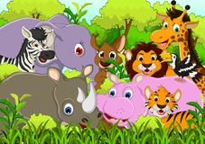Cute animal cartoon with tropical forest background