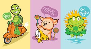 3 cute animal character turtle, pig and frog royalty free illustration