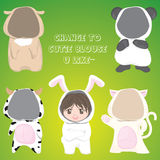 Cute animal cloth girl Stock Image