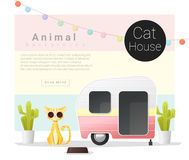 Cute animal collection Cat house Royalty Free Stock Image