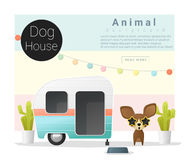 Cute animal collection Dog house Royalty Free Stock Images