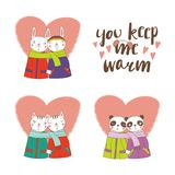 Cute animal couples. Set of hand drawn cute funny animal couples, holding hands and wrapped in a muffler, with typography. Isolated objects on white background Stock Photo