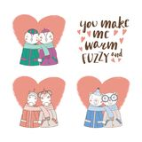 Cute animal couples. Set of hand drawn cute funny animal couples, holding hands and wrapped in a muffler, with typography. Isolated objects on white background Stock Images