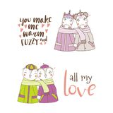 Cute animal couples. Set of hand drawn cute funny animal couples, holding hands and wrapped in a muffler, with typography. Isolated objects on white background Royalty Free Stock Photos
