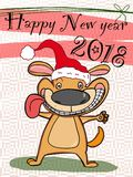 Cute animal dog happy new year card cat drawing illustration white background. Cute animal dog happy new year card cat drawing coloring and white background Royalty Free Stock Photos
