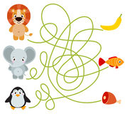Cute animal educational maze game Royalty Free Stock Photography