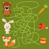 Cute animal educational maze game Stock Image