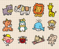 Cute animal element, hand draw icon Royalty Free Stock Photos