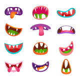 Cute animal face expressions and emotions. Funny cartoon monster comic mouth set Stock Image