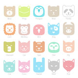 Cute animal face flat icon set, vector illustration Royalty Free Stock Images