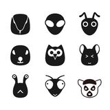Cute animal face icons set, cartoon vector illustration Royalty Free Stock Image