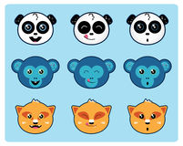 Cute Animal Faces vector illustration