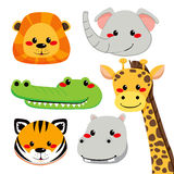 Cute Animal Faces. Collection of cute and funny wild safari animal faces Royalty Free Stock Images