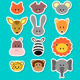 Cute animal faces royalty free illustration